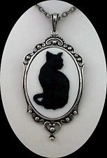 Magic Witch Halloween BLACK CAT CAMEO Antiqued Silver PENDANT NECKLACE Wiccan