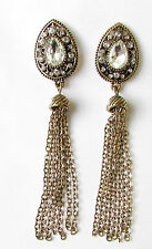 Art Deco Silver Bronze Earrings 1920s Flapper Great Gatsby Drop Long Vtg 1245