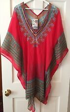 NWT India Boutique Red Multi Color Sheer Embellished Swimwear Coverup FREE SIZE