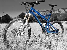 Impresión arte cartel Sport Photo Mountain Bike Bicicleta Azul nofl0446