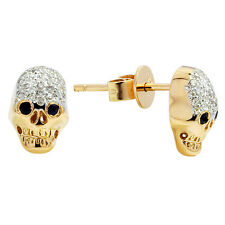 SOLID 14K YELLOW GOLD PAVE NATURAL DIAMOND SAPPHIRE SKULL STUD STUDS EARRINGS