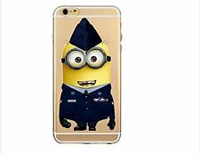 Apple iPhone 6 6S Case Clear Gel Cover Minions + Screen Protector / Air Force