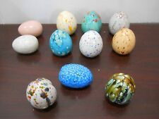 Lot of 11 Decorative Pastel Glazed Speckled Ceramic Eggs Painted Easter Homemade