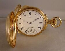 134 YEARS OLD WALTHAM 13j 14k SOLID GOLD BOX HINGES HUNTER CASE 8s POCKET WATCH
