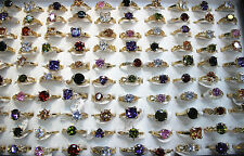 50pcs Wholesale Lots Charm Colorful CZ Ring Gold Plated Engagement Rings EH303