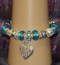New 925 Sterling Silver Filled and Aquamarine Crystal Fashion Charm Bracelet