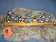 The Wolf Sculptures-Vintage Original- Hand Carved Soap Stone - Dog Sled  on wood