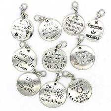 10PCS 10 Words Antique Silver Clip-on Charms Collection, Jewelry Supply C35