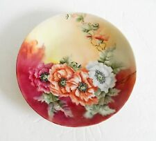 Limoges hand painted decorative plate with floral designs