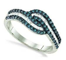 Stunning! .925 Sterling Silver Blue & White Round & Baguette Diamond Ring .53ct