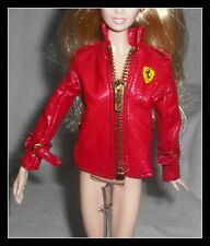 TOP MATTEL BARBIE DOLL MODEL MUSE FERRARI RED FAUX LEATHER DESIGNER JACKET COAT