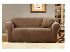 Sofa Slipcover Two Tone Pique 1 piece Sure Fit Tan/Brown Mini check
