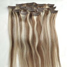 Full Head Clip in Remy Hair Extensions blonde brown 8/613# 100% Real Human Hair