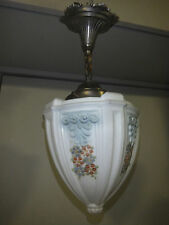 "Art Deco Antique Hand Painted Glass Shade Hanging Lamp 8.5"" Diameter"