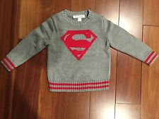 NWT Baby GAP Junk Food Superman Intarsia Sweater Size 3T Fog Grey Red
