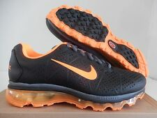 NIKE AIR MAX + 2011 LEA LEATHER BLACK-TOTAL ORANGE-DARK GREY SZ 9.5 [456325-080]