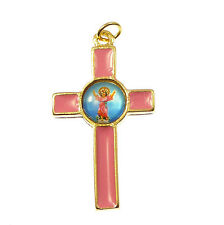 Catholic Divine Child cross in pink enamel with gold tone metal finish 3.6cm