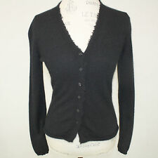 White + Warren 2-Ply 100% Cashmere Raw Hem Black V-Neck Cardigan Sweater Small