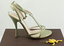 Bottega Veneta 307894VX190 Ankle Strap Green 8.5 Leather Prom Heels sandals $740