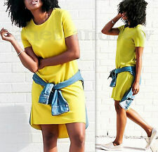ZARA LIME GREEN YELLOW SHORT SLEEVES DRESS LONG TOP SIZE M UK 10