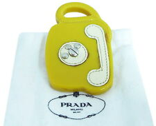 AUTHENTIC PRADA Telephone Motif Pin Brooch Yellow Plastic/Leather