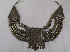 Antique Yemenite Bedouin Tribal Coin Silver Necklace-Filigree Bead-Shot Balls -j