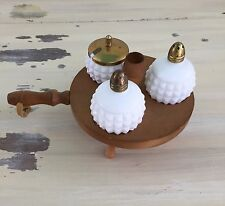 SLAT & PEPPER CADDY - Japan, Wood & White Milk Glass, Toothpick, Sugar Container
