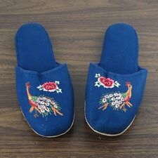 Pair of Embroidered Peacock Chinese Women Slippers in Blue Size 11 New