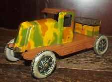 ANCIEN CAMION MILITAIRE CHARLES ROSSIGNOL CR EN TÔLE 30's . TIN TOY CLOCKWORK