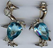 REJA VINTAGE PAIR STERLING BLUE GLASS & RHINESTONE GOOSE & GANDER PIN SET