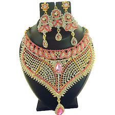 Indian Jewelry Ethnic Necklace Bollywood Bridal Traditional Gold Set FASHION EDH