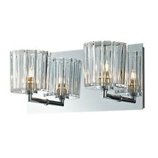 Crystal Bathroom Wall 2-Light Fixture Candle Sconces Vanity Lighting Glass  Lamp