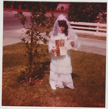 Vintage 80s PHOTO Little In First Communion Religious Dress & Veil