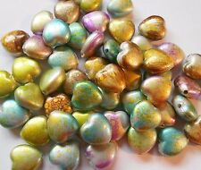 Acrylic Heart Bead Metallic Splash Teal Purple Brown 14 x 8 mm Package of 100
