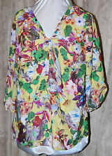 ISAAC MIZRAHI LIVE! GORGEOUS WONDERLAND FLORAL PRINT RUFFLE TOP BLOUSE MEDIUM