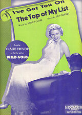 """WILD GOLD Sheet Music """"I've Got You At The Top Of My List"""" Claire Trevor"""