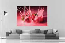 Strawberries-milk Fraise et lait Wall Art Poster Grand format A0 Large Print