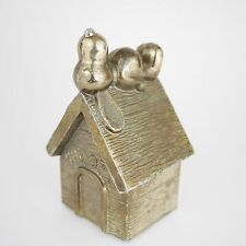 Vintage Leonard SNOOPY on Doghouse Silver Plated Coin Bank - 1966 PEANUTS