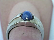 BEAUTIFUL 14K WHITE GOLD MEN'S RING WITH STAR SAPPHIRE