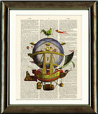 Antique Book page Art Print - Steampunk Air Balloon Minerve Dictionary Wall Art