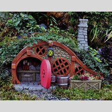Miniature Garden Red Root Bungalow Hill Home w Glow Lantern  Hobbit House 17252