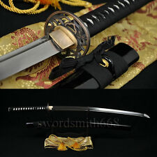Japanese Sword Katana Oil Quenched Damascus Steel Blade Orchid Tsuba Very Sharp