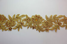 """Handmade Embroidered Corded Beaded Edging Motifs Trim 3 """" width 16 Colours #15"""