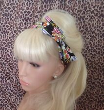 Negro Candy azúcar Calavera impresa Doble Alambre Twist Cabello Head Band Retro Rockabilly