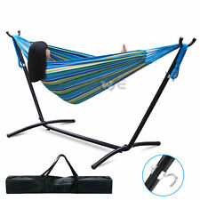 Double Hammock With Space Saving Steel Stand Include Free Portable Carrying Case