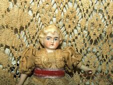 ANTIQUE MINIATURE GERMANY BISQUE DOUBLE JOINTED LACE DRESS DRESS 6'' DOLL
