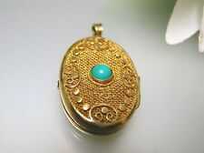 Antique 25mm oval filigree stone 925 silver gold overlaid picture locket pendan