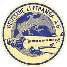 Deusche Lufthansa Airline  Vintage-Looking  Travel Decal- Luggage Label- Sticker