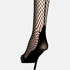LEG AVENUE CONTEMPORARY BLACK  FISHNET BACK SEAM CUBAN HEEL STOCKINGS THIGH HIGH