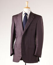NWT $3995 OXXFORD HIGHEST QUALITY Brown-Lavender Stripe Wool Suit 40 R 'Gibbons'